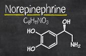 Blackboard with the chemical formula of Norepinephrine