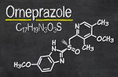Blackboard with the chemical formula of Omeprazole