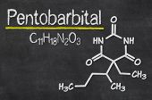 Blackboard with the chemical formula of Pentobarbital