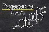 Blackboard with the chemical formula of Progesterone