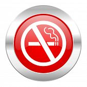 no smoking red circle chrome web icon isolated