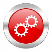gear red circle chrome web icon isolated