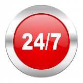 24/7 red circle chrome web icon isolated