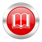 book red circle chrome web icon isolated