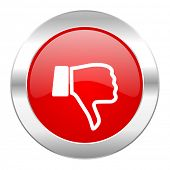 dislike red circle chrome web icon isolated