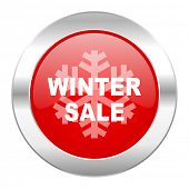 winter sale red circle chrome web icon isolated