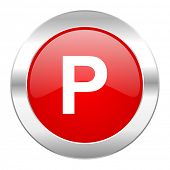 parking red circle chrome web icon isolated