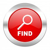 find red circle chrome web icon isolated