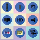 Set Of Media Flat Icons