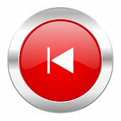 prev red circle chrome web icon isolated