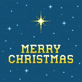 8-bit Pixel Merry Christmas Message With Star Of Bethlehem
