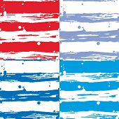 Seamless Strip Pattern Set. Red, Blue And White Background.