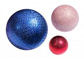 Christmas color spheres with path on white background
