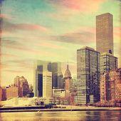 Grunge image of lower Manhattan in New York.