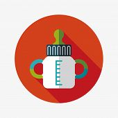 Baby Bottle Flat Icon With Long Shadow
