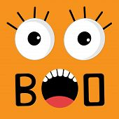 Scary Face Emotions Boo. Happy Halloween Card. Flat Design Style
