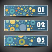 Colorful Vector Set of Three Header Designs with Dots and Circles