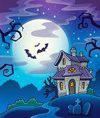 Haunted house theme background - eps10 vector illustration.
