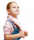 the little girl looks up
