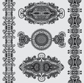 grey ornamental floral adornment, black and white collection