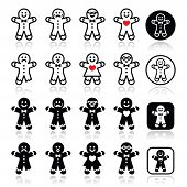 Gingerbread man Christmas icons set