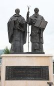 SKOPJE, MACEDONIA - MAY 16: Statue of  Saint Cyril and Saint Methodius in Skopje  in downtown of Skopje, Macedonia on May 16, 2013