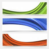 Wave Line Dotted Web Banners Set