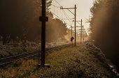 Railway In Sunrise Setting
