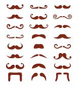 Brown moustache or mustache vector icons set