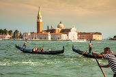Venice, Italy,august 9, 2013: Traditional Gondola On Canal Grande With San Giorgio Maggiore Church I