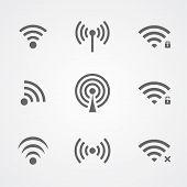 Black wi-fi icons isolated on white background