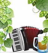 Beer Mug And Accordion With Hops