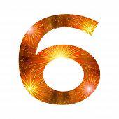 Number of orange firework, six