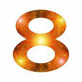 Number of orange firework, eight