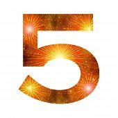Number of orange firework, five