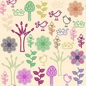 Floral Seamless Pattern With Birds  And Seamless Pattern In Swatch Menu, Vector Image