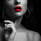 pic of  lips  - Sexy woman with red lips - JPG