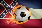 Soccer Ball With Flag On Background Series - Mississippi