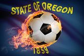 Soccer Ball With Flag On Background Series - Oregon