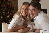 Young Couple Celebrating Christmas Holidays