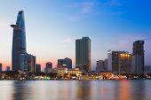 Saigon (ho Chi Minh City), Vietnam - January  2014: Skyline Of Saigon With Saigon River