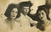 Historical Retro Photo, Beginning Of Xx Century: Two Ladies And Boy poster