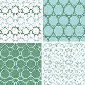 Four abstract moss green motives seamless patterns set