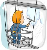 Illustration Featuring a Man Cleaning the Window of a High Rise Building