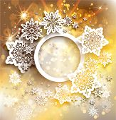 Gold holiday background with snowflakes design. Copy space