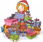 Illustration Featuring a Stack of Christmas Gifts