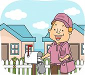 Illustration Featuring a Postman Delivering Mails