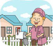 Illustration Featuring a Postman Delivering Mails