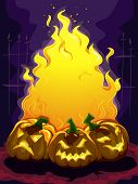 Frame Illustration Featuring a Bonfire Surrounded by Jack-o'-Lanterns