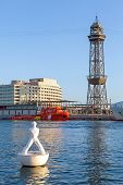 White Sculpture On The Buoy In Barcelona Port